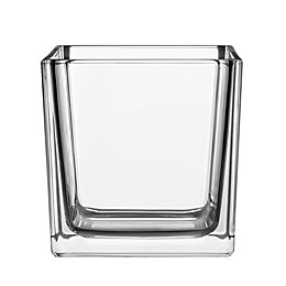 6-Inch Square Glass Cube Vase