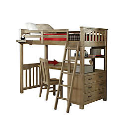 Hillsdale Furniture Highlands Twin Loft Bed with Tray, Desk and Chair in Driftwood