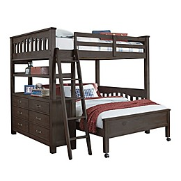 Hillsdale Furniture Highlands Full Loft Bed with Full Lower Bed in Espresso