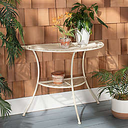 Safavieh Genson Iron End Table in Pearl White