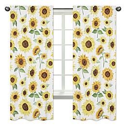 Sweet Jojo Designs Sunflower 84-Inch Window Curtain Panels in Yellow/Green (Set of 2)