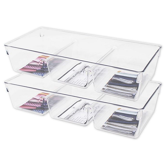 Alternate image 1 for Heritage 13-Inch Multipurpose Drawer Organizer Bins in Clear (Set of 2)