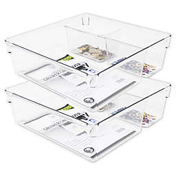 Heritage 9-Inch Multipurpose Drawer Organizer Bins in Clear (Set of 2)