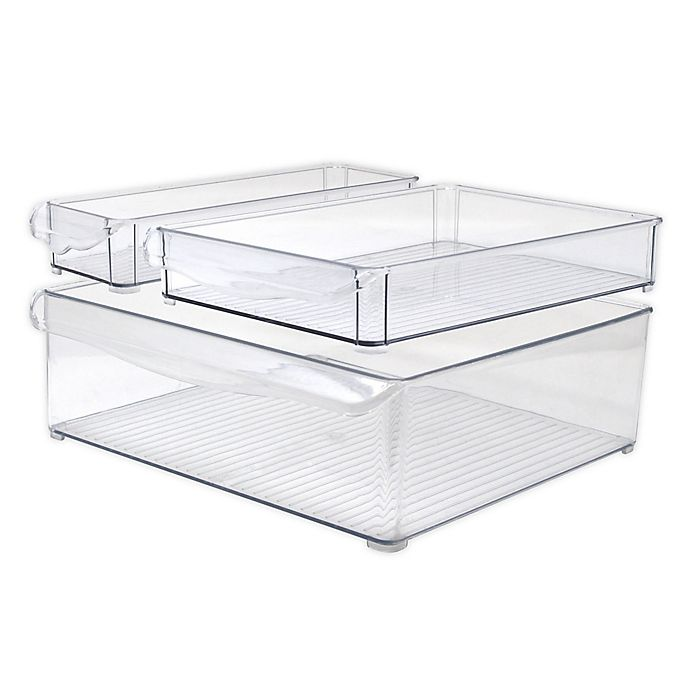 Alternate image 1 for Heritage 12-Inch Multipurpose Dresser Drawer Organizer Bins in Clear (Set of 3)