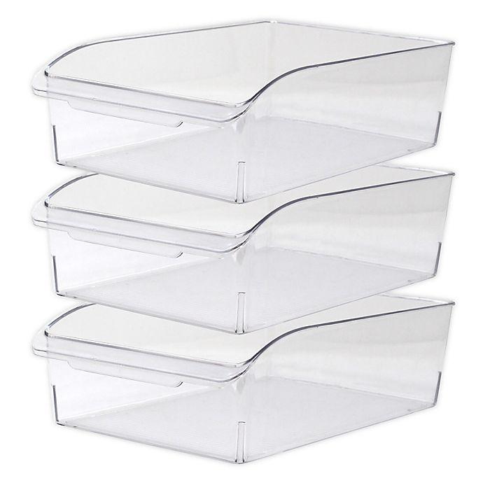 Alternate image 1 for Heritage Deep Multipurpose Dresser Drawer Organizer Bins in Clear (Set of 3)