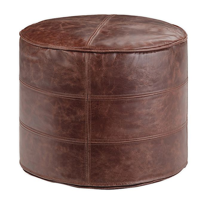 Simplihome Connor Leather Round Pouf Ottoman In Distressed Brown Bed Bath Beyond