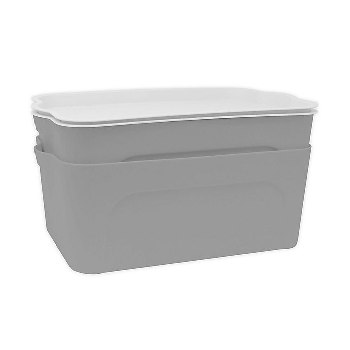 Alternate image 1 for Heritage Plastic Bins with Lids in Light Grey (Set of 2)