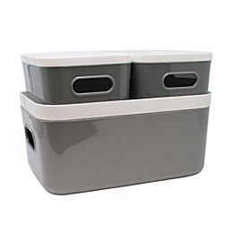 Heritage Compact Plastic Bins with Lids (Set of 3)