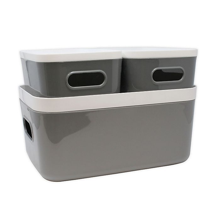 Alternate image 1 for Heritage Compact Plastic Bins with Lids (Set of 3)
