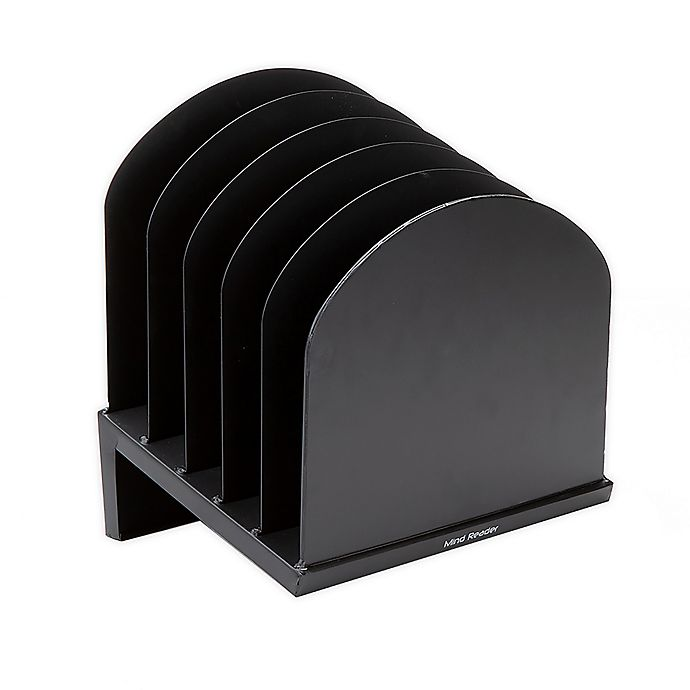 Alternate image 1 for Mind Reader 6-Slot Incline Metal Desk Paper Organizer in Black