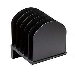 Mind Reader 6-Slot Incline Metal Desk Paper Organizer in Black