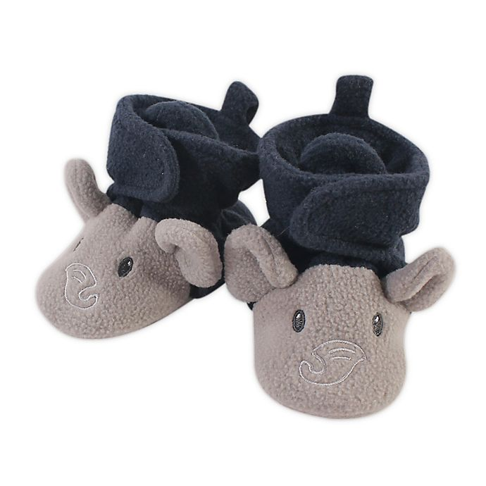 Alternate image 1 for Hudson Baby® Size 18-24M Fleece Elephant Booties in Navy/Grey