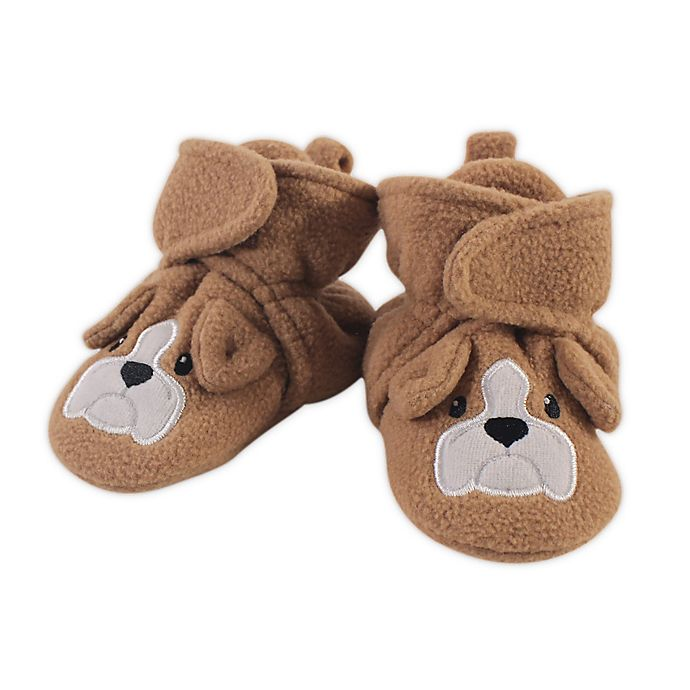 Alternate image 1 for Hudson Baby® Size 0-6M Fleece Dog Booties in Light Brown