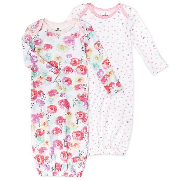Alternate image 1 for Honest Baby® Size 0-6M 2-Pack Rose Blossom/Love Dot Organic Cotton Sleeper Gowns