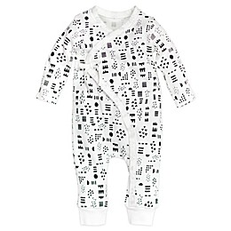 Honest Baby® Pattern Play Organic Cotton Side-Snap Kimono Coverall in White/Black