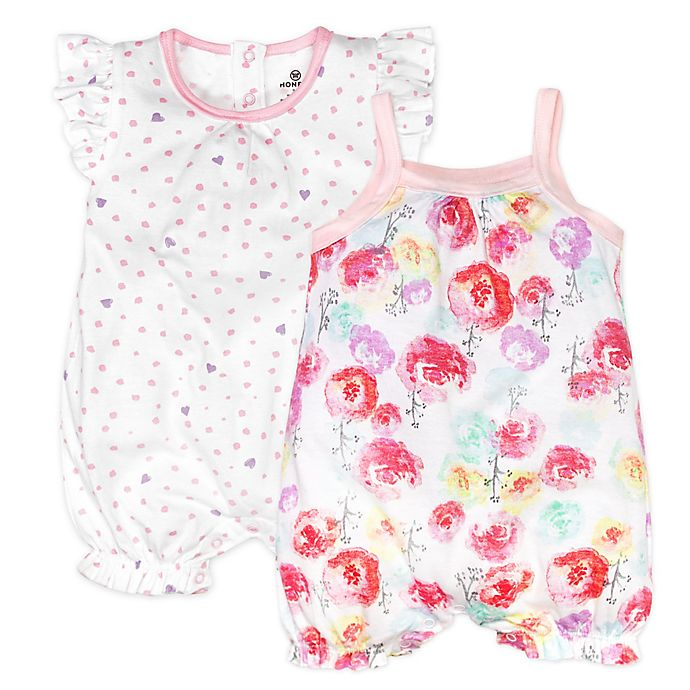 Alternate image 1 for Honest Baby® 2-Pack Rose Blossom/Love Dot Organic Cotton Rompers