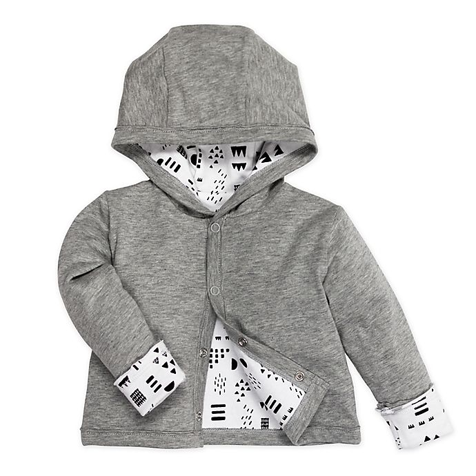 Alternate image 1 for Honest Baby® Pattern Play Organic Cotton Snap-Front Reversible Hoodie