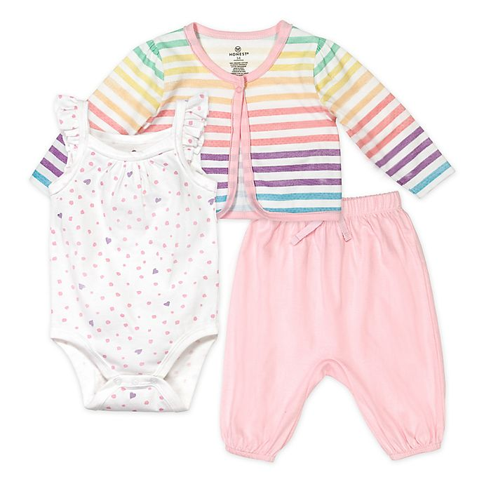 Alternate image 1 for Honest Baby® 3-Piece Rainbow Organic Cotton Bodysuit, Cardigan and Pant Set