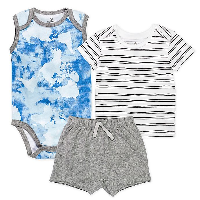Alternate image 1 for Honest Baby® 3-Piece Watercolor World/Sketchy Stripe Organic Cotton Short Set