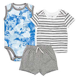 Honest Baby® Newborn 3-Piece Watercolor World/Sketchy Stripe Organic Cotton Short Set