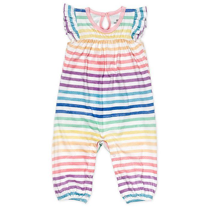 Alternate image 1 for Honest Baby® Rainbow Stripe Organic Cotton Flutter Sleeve Coverall