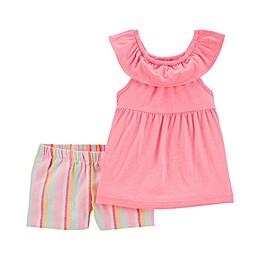 carter's® 2-Piece Pastel Stripes Shirt and Short Set