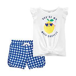carter's® Size 3M 2-Piece Lemon Squeeze Tie-Front Shirt and Gingham Short Set