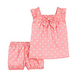 carter's® 2-Piece Polka Dot Tank and Short Set in Coral