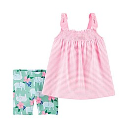carter's® 2-Piece Striped Tank and Elephant Short Set in Pink