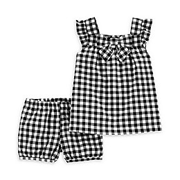 carter's® 2-Piece Gingham Tank and Short Set in White/Black
