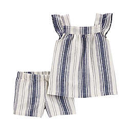 carter's® 2-Piece Striped Tank and Short Set in Navy