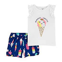 carter's® 2-Piece Ice Cream Top and Short Set in White