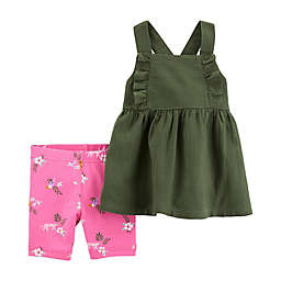 carter's® Newborn Olive Top and Short Set in Green/Pink