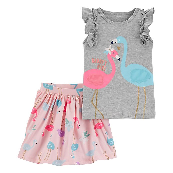 Alternate image 1 for carter's® Flamingo Top and Skirt Set