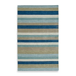 Rizzy Home Platoon Area Rug in Blue Stripe