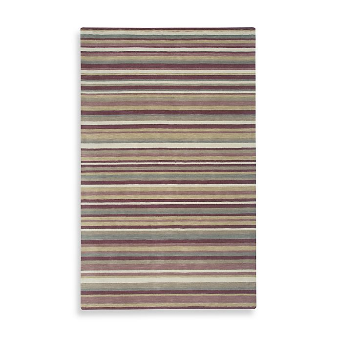 Alternate image 1 for Rizzy Home Platoon Collection Plum Stripe Rug