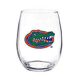 University of Florida 4-Piece 16 oz. Clear Plastic Stemless Wine Glasses Set