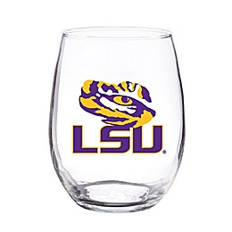 Louisiana State University 4-Piece 16 oz. Clear Plastic Stemless Wine Glasses Set