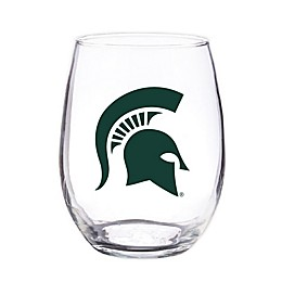 Michigan State University 4-Piece 16 oz. Clear Plastic Stemless Wine Glasses Set