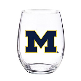University of Michigan 4-Piece 16 oz. Clear Plastic Stemless Wine Glasses Set