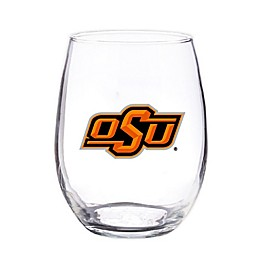 Oklahoma State University 4-Piece 16 oz. Clear Plastic Stemless Wine Glasses Set