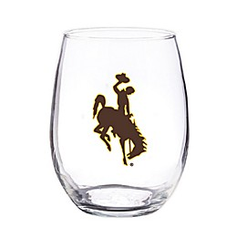 University of Wyoming 4-Piece 16 oz. Clear Plastic Stemless Wine Glasses Set
