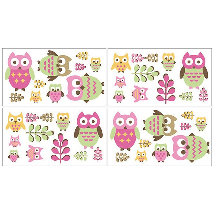 Alternate image 1 for Sweet Jojo Designs Happy Owl Wall Decals in Pink