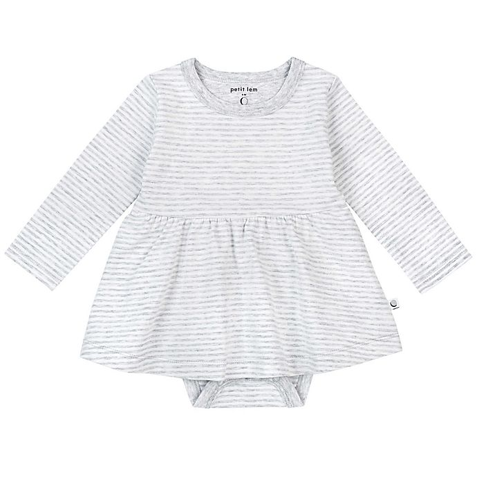 Alternate image 1 for Petit Lem™ Organic Cotton Long Sleeve Bodysuit Dress in Grey