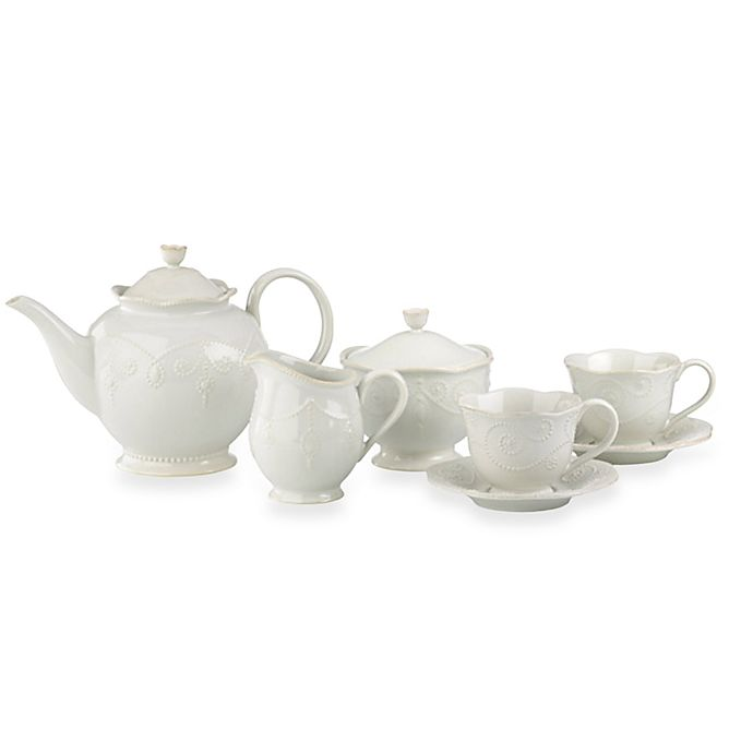 Alternate image 1 for Lenox® French Perle™ 7-Piece Tea Set in White