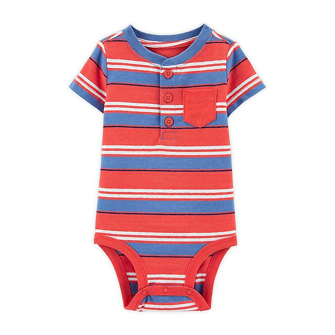 Alternate image 1 for OshKosh B'gosh® Stripe Henley Bodysuit