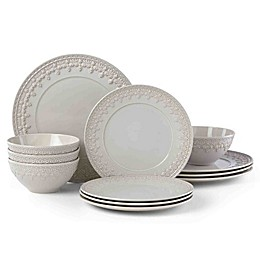 Lenox® Chelse Muse Fleur Grey™ 12-Piece Dinnerware Set