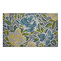 "Easy Care Garden Floral 1'8"" x 2'10"" Indoor/Outdoor Accent Rug in Blue/Yellow"