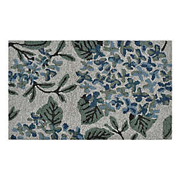 """Easy Care Floral Bouquet 1'8"""" x 2'10"""" Indoor/Outdoor Accent Rug in Blue/Green"""
