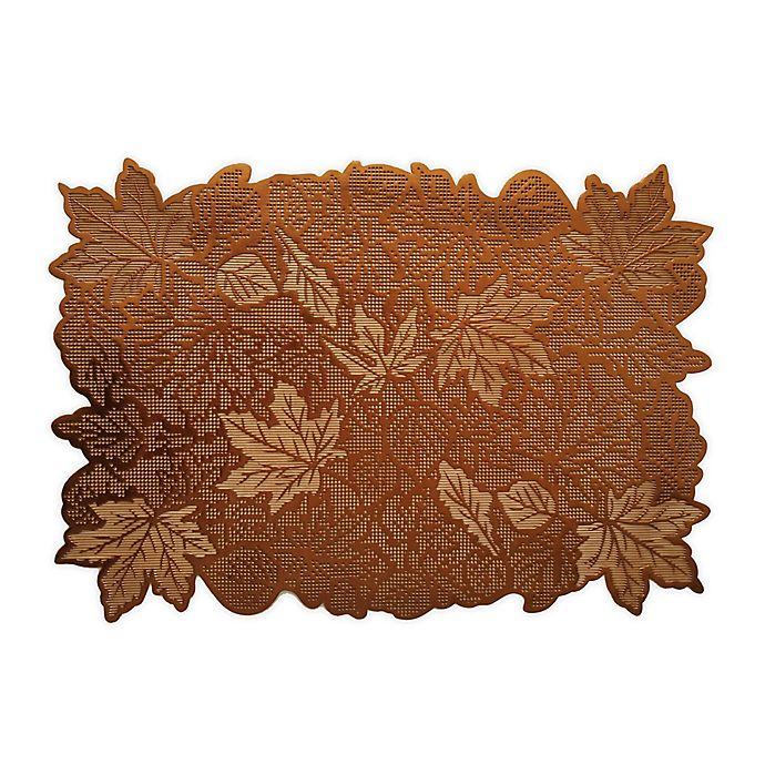 Alternate image 1 for Fall Leaves Metallic Vinyl Placemat